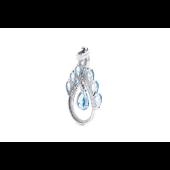 Кулон Капля с топазами и фианитами, серебро