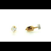 Пуссеты с бриллиантом, красное золото