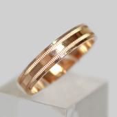 Кольцо обручальное с декоративными насечками, красное золото, 585 проба 3.9мм