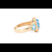 Кольцо с топазами и фианитами, красное золото