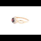 Кольцо Принцесса с гранатом и фианитами, красное золото