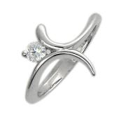 Кольцо, белое золото, узкая шинка, два лепестка с фианитом