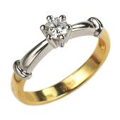 Кольцо помолвочное с бриллиантом 0,25ct, красное и белое золото