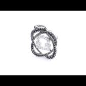 Подвеска знак зодиака Весы с чёрными и прозрачными фианитами, серебро