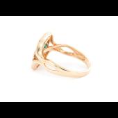 Кольцо с бриллиантами и квадратными изумрудами, красное золото