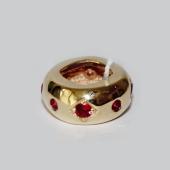 Подвеска-шарм с прорезью Ромб с цветной вставкой, желтое золото, 585 проба