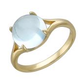 Кольцо с большим круглым топазом (аметистом, гранатом) кабашон, желтое золото 585 проба
