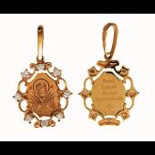 Семистрельная в резном окладе с фианитами (8 шт.), красное золото, высота 14 мм