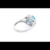 Кольцо с топазом и фианитами, серебро