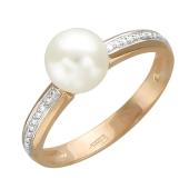 Кольцо с белым жемчуг и дорожкой фианитов, красное золото