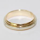 Кольцо обручальное с фианитами, желтое и белое золото ширина 4 мм