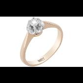 Кольцо Роза с одним бриллиантом, красное золото