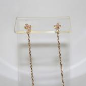 Серьги-продевки Крестики с фианитами, красное золото