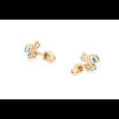 Серьги-пусеты детские Бабочки с голубыми (с цветными) фианитами