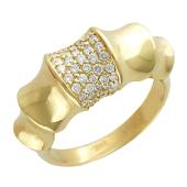 Кольцо с бриллиантами, желтое золото 750 проба