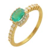 Кольцо с бриллиантами и овальным изумрудом (сапфиром), комбинированное золото 750 проба