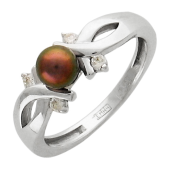 Кольцо с чёрным жемчугом и фианитами, белое золото