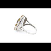 Кольцо Солнце с раухтопазом, цитринами и фианитами, серебро