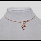 Браслет на ногу с подвеской дельфин, красное золото