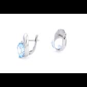 Серьги с круглым топазом и фианитами, серебро