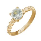 Кольцо с большим круглым топазом, красное золото
