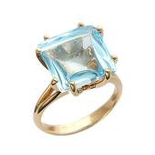 Кольцо с квадратным гладким камнем, красное золото