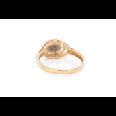 Кольцо с раухтопазом и фианитами, красное золото