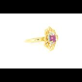 Кольцо Цветок с рубином, фианитами и золотым покрытием., серебро
