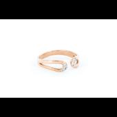 Кольцо с фианитами разомкнутое на ногу, красное золото