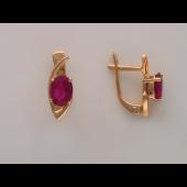 Серьги с крупными рубином Овал, красное золото