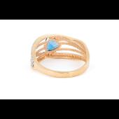 Кольцо с треугольным топазом и фианитами, красное золото