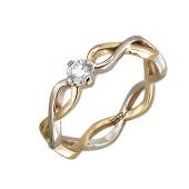 Кольцо Бесконечность с бриллиантом, желтое и белое золото 585 проба
