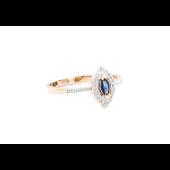 Кольцо с бриллиантами и сапфиром, красное золото