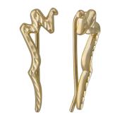 Серьги Каффы с алмазной гранью, желтое золото 25мм