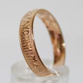 Кольцо обручальное ребристое Спаси и Сохрани, красное золото, 5мм