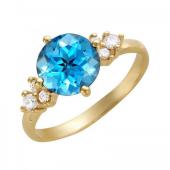 Кольцо с круглым топазом бриолет и фианитами, желтое золото