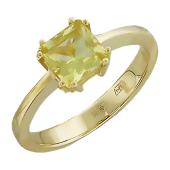 Кольцо с квадратным кварцем в восьми держателях, желтое золото