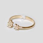 Кольцо на ногу Цветы с фианитами, желтое золото