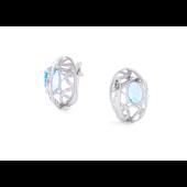 Серьги овальные Узоры с голубыми топазами и фианитами, серебро