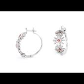 Серьги -кольца Цветы с гранатами и фианитами, серебро