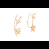 Серьги каффы Сова на ветке с фианитами, красное золото