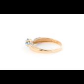 Кольцо с квадратным топазом и фианитами, красное золото