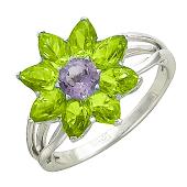 Золотое кольцо Цветок с полудрагами формы маркиз и круг, белое золото, 585 пробы