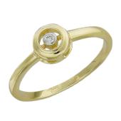 Кольцо с бриллиантом в круге, желтое золото