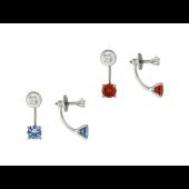 Серьги-пусеты двойные с цветными фианитами (голубой, красный), белое золото