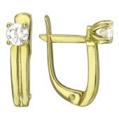 Серьги с бриллиантами, желтое золото 750 пробы