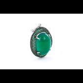 Кулон с зеленым овальным ониксом и зелеными фианитами, серебро