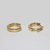 Серьги с бриллиантами Дуэт, желтое золото