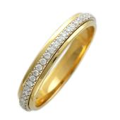 Кольцо обручальное с бриллиантами по всей шинке, комбинированное золото