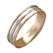 Кольцо обручальное двусплавное, пять полос из белого и красного золота